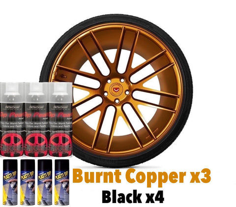 DYC Performix Plasti Dip Pearl Wheel Kit 3 Burnt Copper Alloy 4 Matte Black Cans