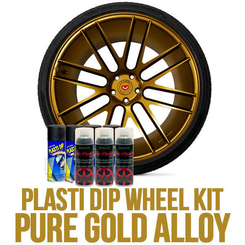 DYC Performix Plasti Dip Wheel Kit 4 Black + 3 Gold Metalizer 11oz Spray Cans