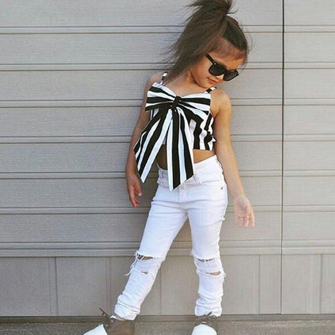 Girls Set Tops and Pants Fashion Hole Pants-orderinbox