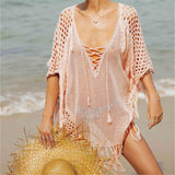 Sexy Pink Crochet Beach Cover up-orderinbox