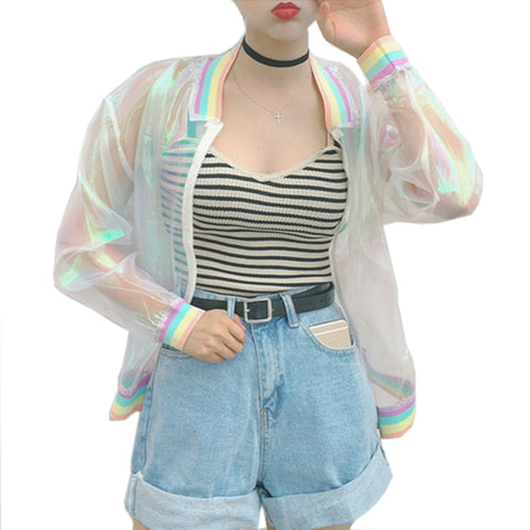 Clear Iridescent Transparent Bomber Jacket-orderinbox
