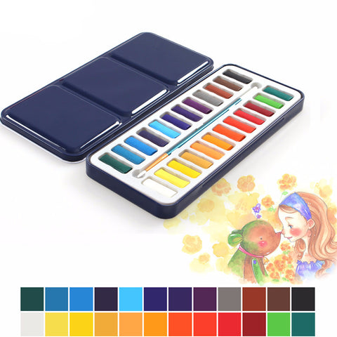 24 Colors Portable Pro Solid Watercolor Paints-orderinbox