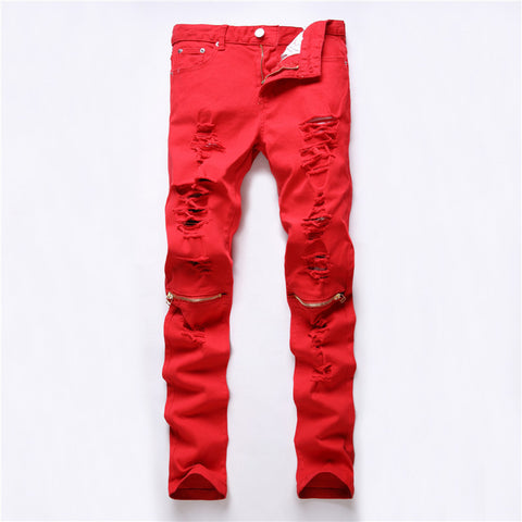 Colorful Ripped Denim Pant-orderinbox