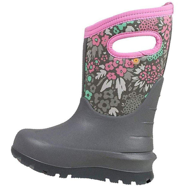 Bogs Outdoor Boots Girls Neo Classic NW Garden Waterproof 72505 - Light Gray Multi / 1 Little Kid