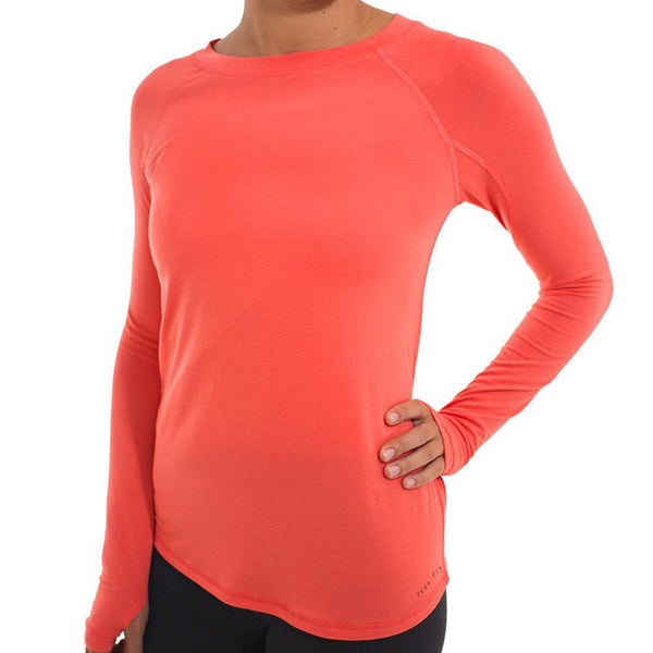 Free Fly Women's Bamboo Midweight Long Sleeve - Coral / Small