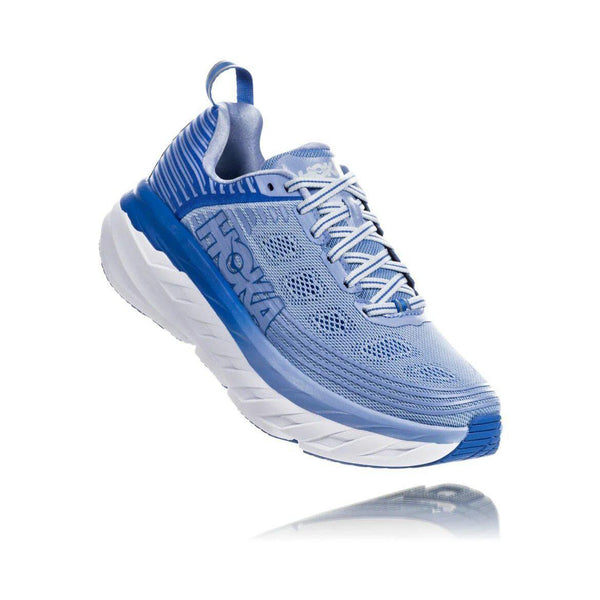 HOKA ONE ONE Women's Bondi 6 Running Shoe - Serenity/Palace Blue / 6