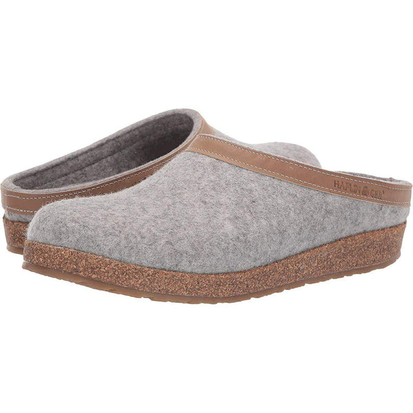 Haflinger Unisex GZL Leather Trim Grizzly Clog - Stone / 37 M EU