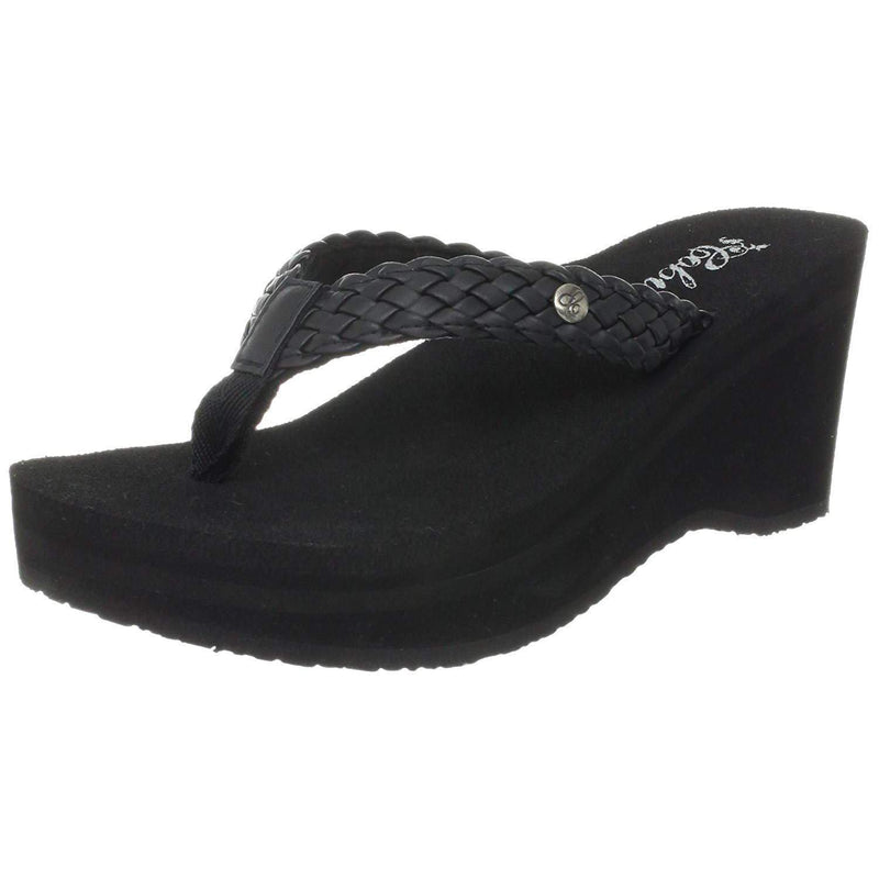 Cobian Zoe Women's Flip Flop Wedge Sandal - Black / 10