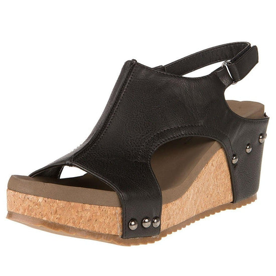 Corkys Footwear Mulan Womens Wedges - Black Distressed / 10