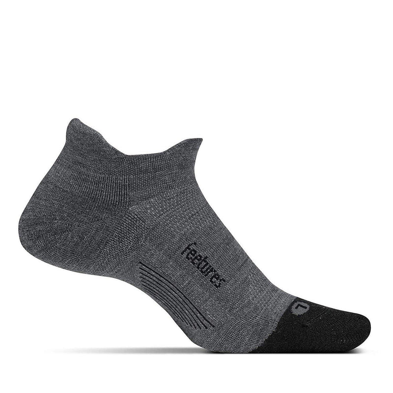 Feetures Unisex- Merino+ Cushion - No Show Tab - Athletic Running Socks - (Merino 10) Gray / Medium