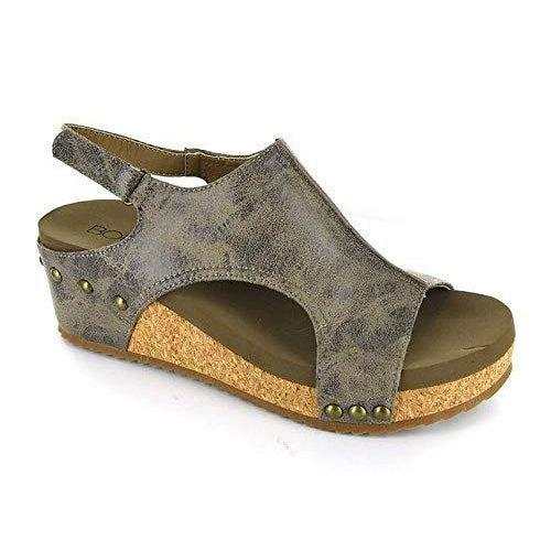 Corkys Volta Wedge Sandal - Brown Distressed / 10
