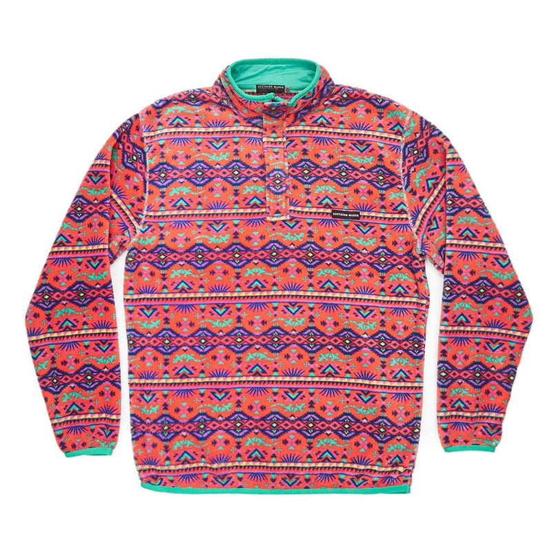 Southern Marsh Dorado Fleece Pullover in French Blue/Peach-Southern Marsh-GrivetOutdoors.com