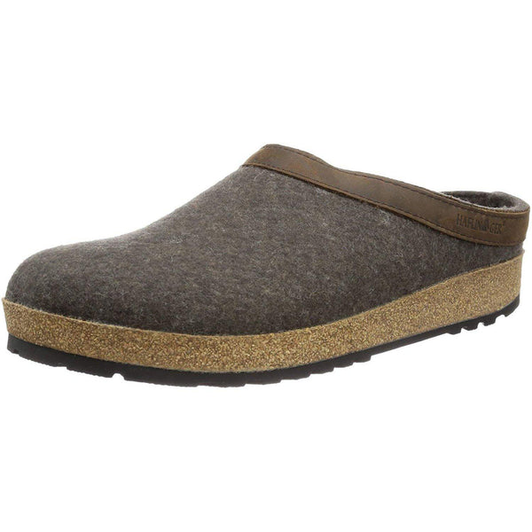 Haflinger Unisex GZL Leather Trim Grizzly Clog - Smokey Brown / 6
