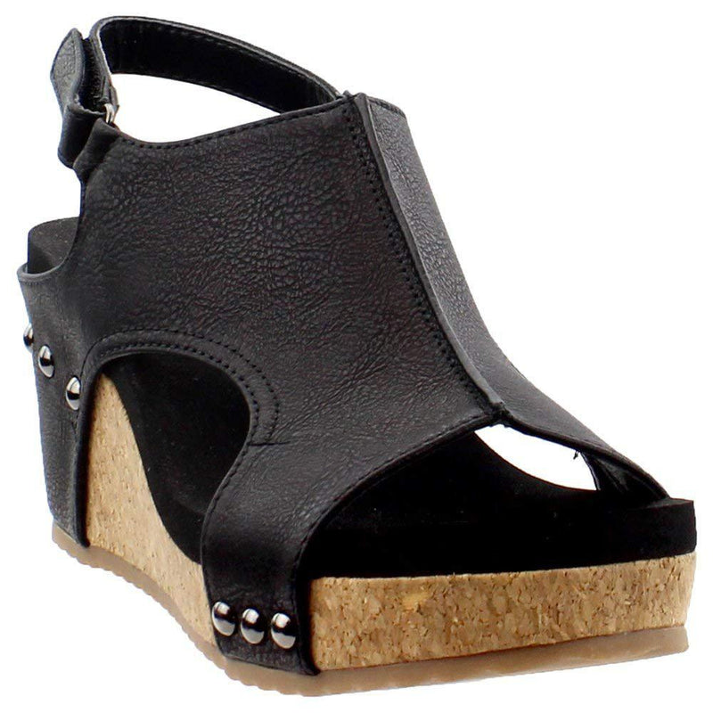 Corkys Women's Carley Wedge Sandal - Black / 8