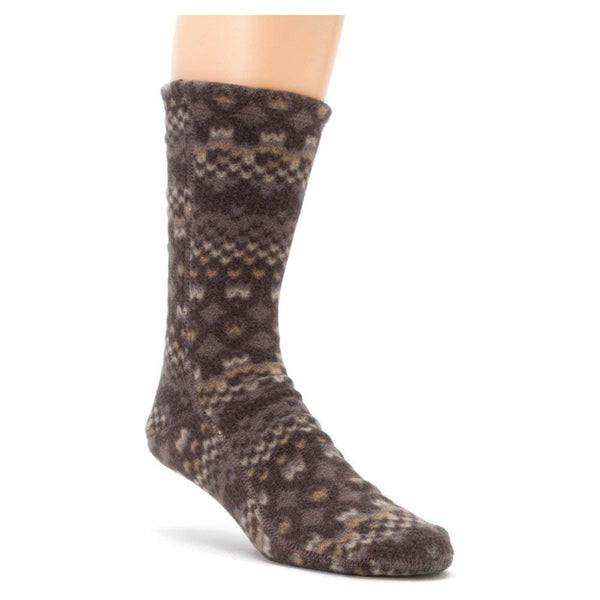 Acorn VersaFit Fleece Slipper Socks for Men and Women - Black/Cream Southwest / M Men's 8.5-9.5/Women's 10-11