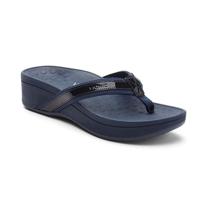 Vionic Women's High Tide Platform Sandals – Ladies Platform Flip Flops with Orthotic Arch Support - Navy / 10