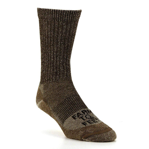 Farm to Feet Men's Boulder No Fly Zone Lightweight Hiking Crew - Brown / Large