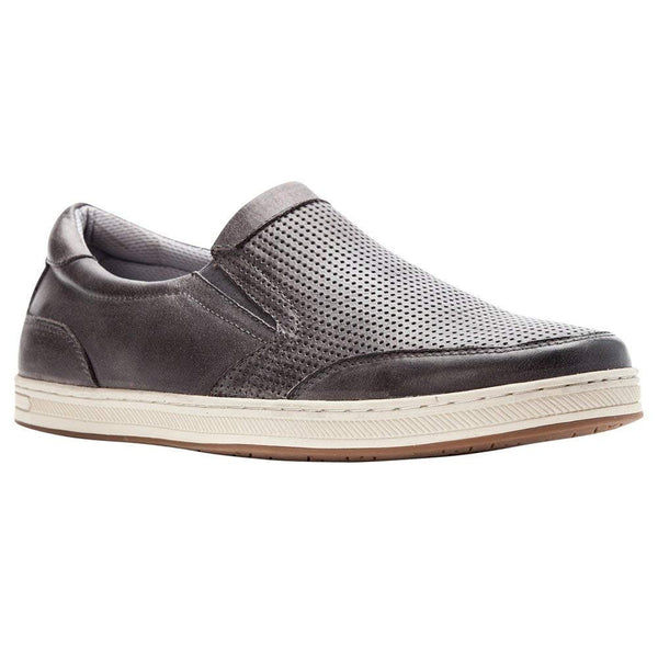 Propét Propet Men's Logan Nubuck, Nylon, Polyurethane, Rubber Slip On Sneakers - Grey / 10