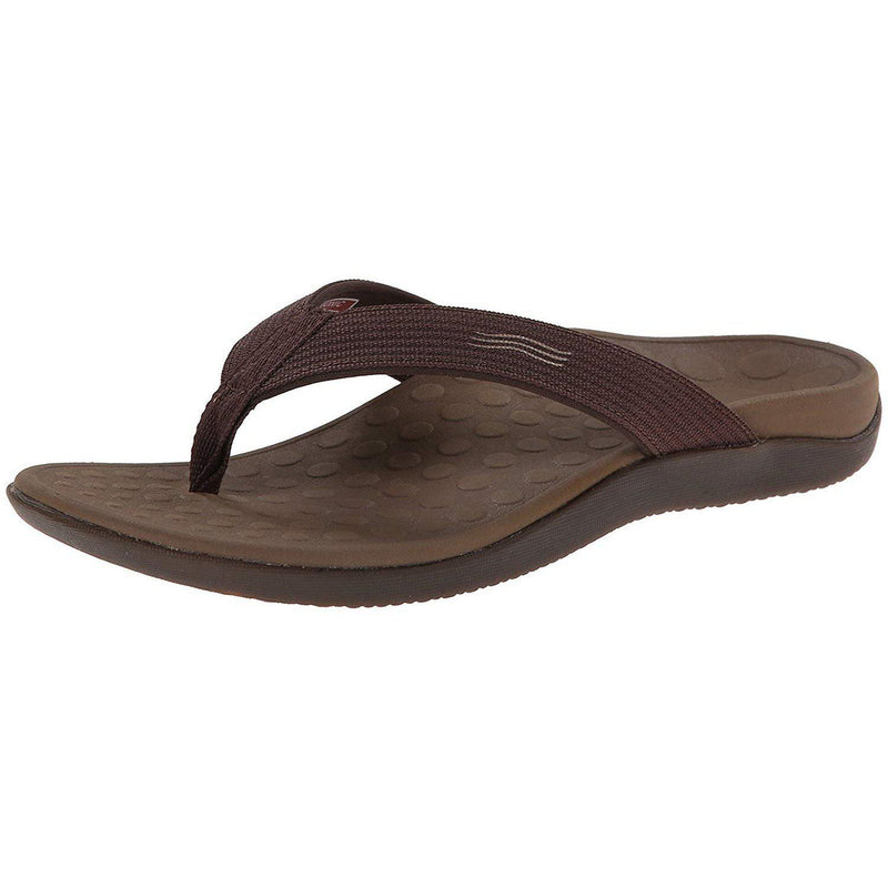 Vionic Unisex Wave Toe-Post Sandal - Flip-Flop with Concealed Orthotic Arch Support - Chocolate / Men's 10 / Women's 11