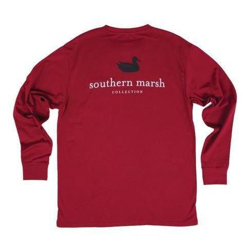 Southern Marsh Men's Authentic Long Sleeve Shirt - Maroon / XX-Large
