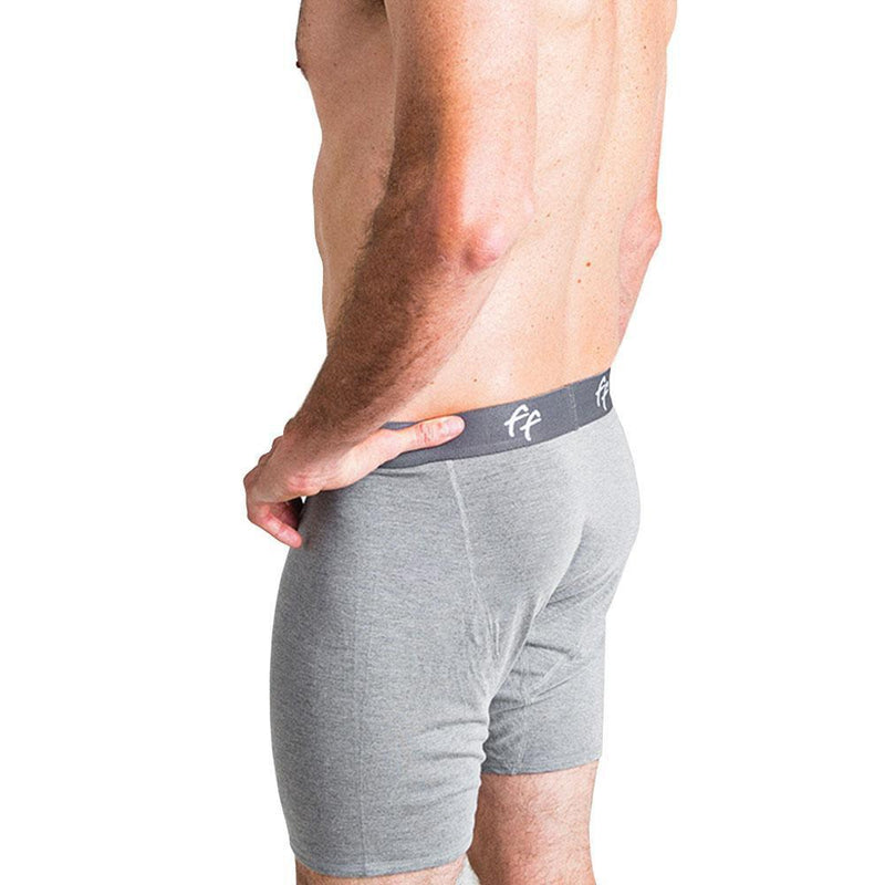 Free Fly Men's Bamboo Comfort Boxer Brief - Heather Grey / Small