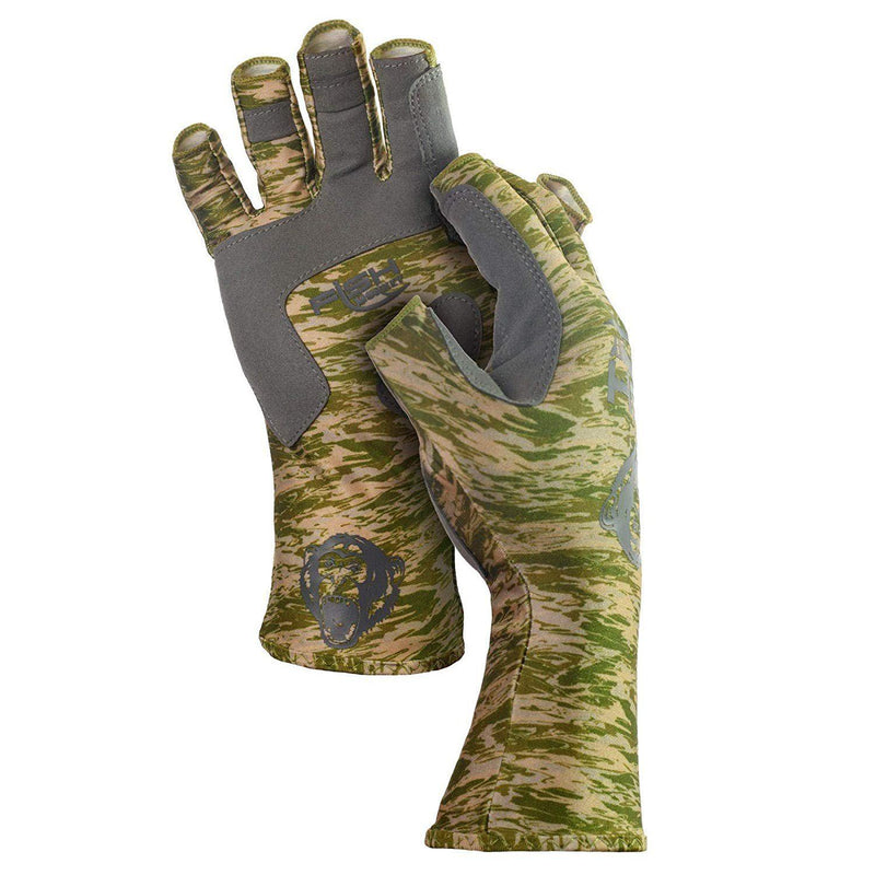 Fish Monkey UPF 50 Sun Protection Half Finger Guide Glove - Green Water Camo / Large