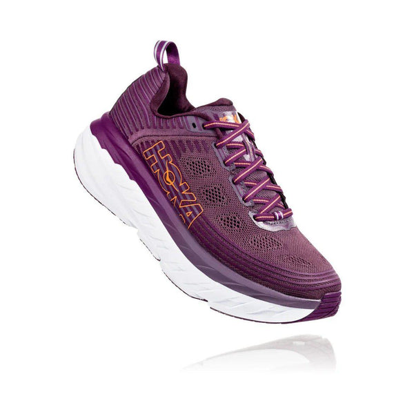 HOKA ONE ONE Women's Bondi 6 Running Shoe - Arctic Dusk/Grape Juice / 10