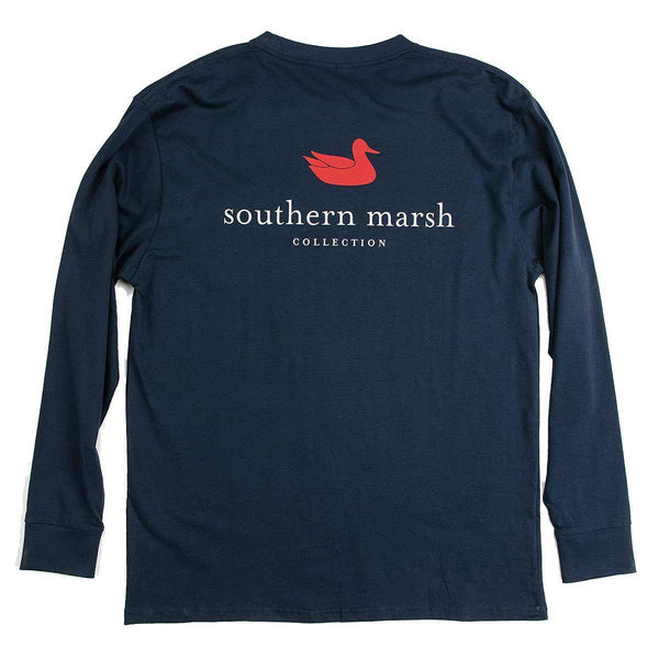 Southern Marsh Men's Authentic Long Sleeve Shirt - Navy / Large