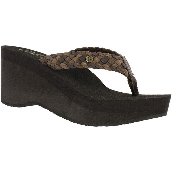 Cobian Zoe Women's Flip Flop Wedge Sandal - Chocolate - New for 2020 / 10
