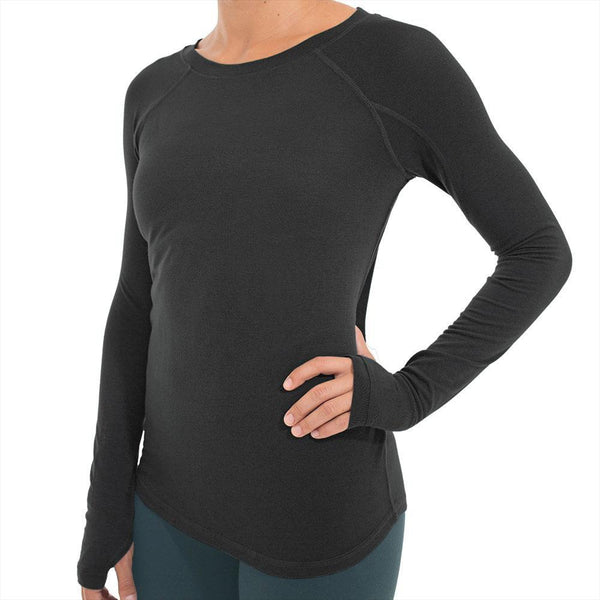 Free Fly Women's Bamboo Midweight Long Sleeve - Heather Black / Small