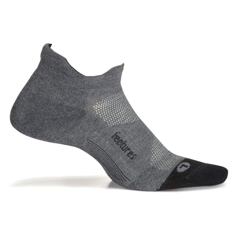 Feetures Unisex - Elite Max Cushion - No Show Tab Athletic Running Socks - Gray / Large