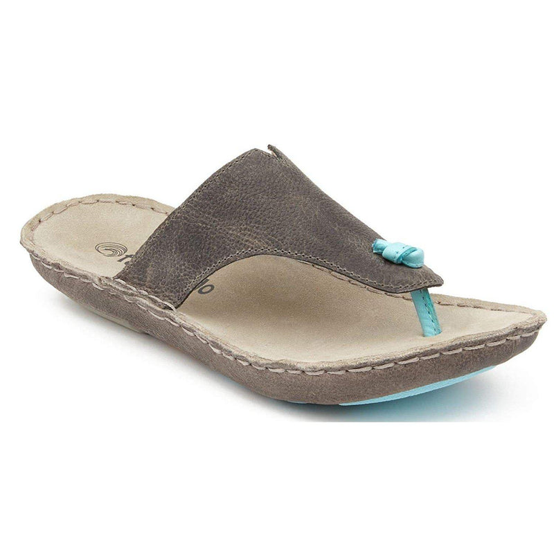 Tamarindo Beachcomber Sandal Women's Leather Softbed Flip Flop - Pebble/Sky / 10