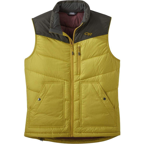 Outdoor Research Men's Transcendent Down Vest - Turmeric/Forest / XX-Large