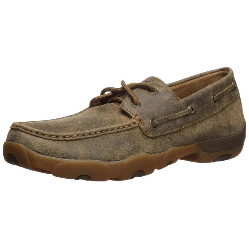 Twisted X Men's Leather Lace-up Rubber Sole Moc Toe Driving Moccasins - Bomber-GrivetOutdoors.com