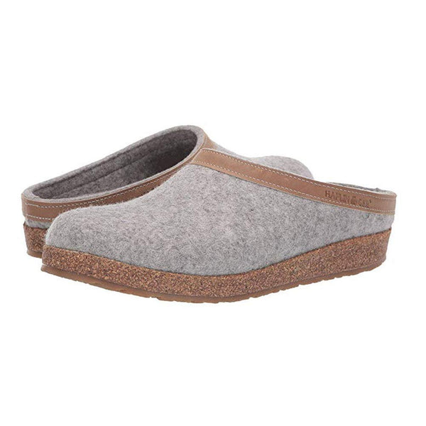 Haflinger Unisex GZL Leather Trim Grizzly Clog - Stone / 45 M EU