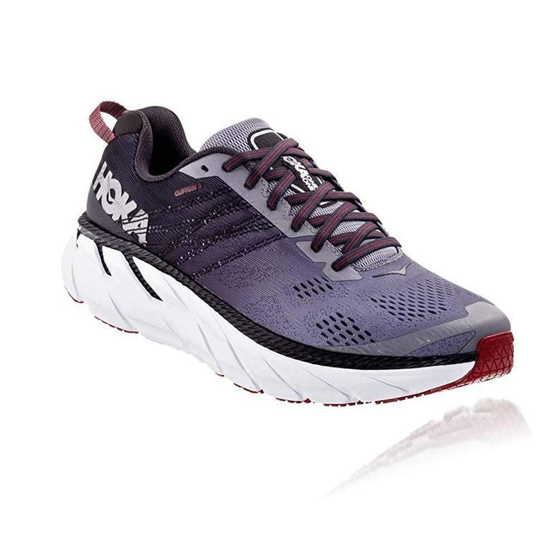 HOKA ONE ONE Mens Clifton 6 Running Shoe - Gull/Obsidian / 10