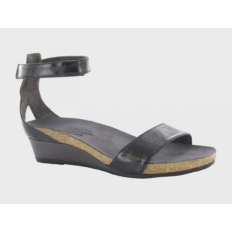 NaotFootwear Women's Pixie Wedge Sandal - 10 / BLACK LUSTER LEATHER COMBO
