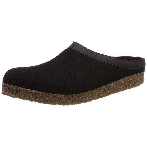 Haflinger Unisex GZL Leather Trim Grizzly Clog - Black / 10 Women/8 Men
