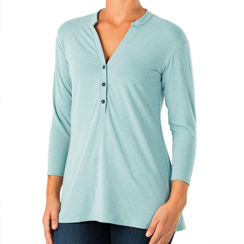 Free Fly Women's Bamboo Flex Henley - Heather Alpine Blue / Medium