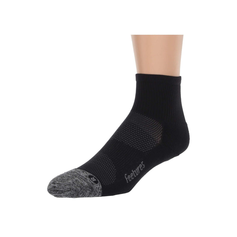 Feetures Unisex - Elite Max Cushion - Quarter Athletic Running Socks - Black / L