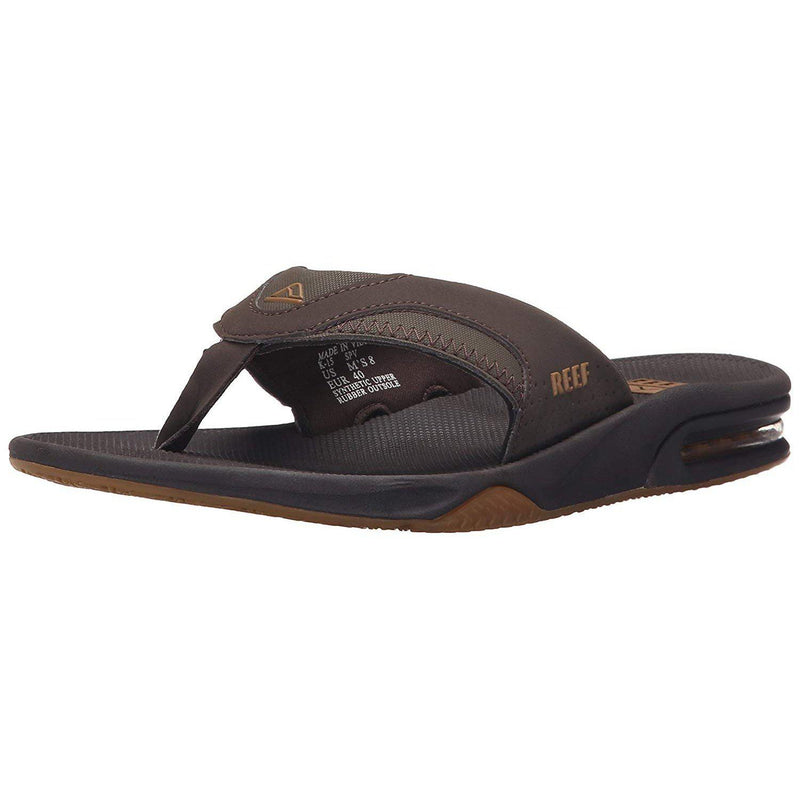 Reef Mens Fanning Sandals | Bottle Opener Flip Flops For Men - Brown/Gum / 10