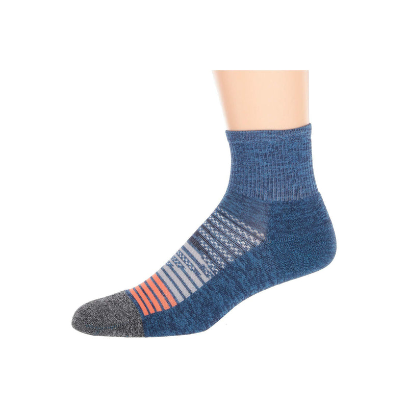 Feetures Elite Light Cushion Quarter Athletic Running Socks for Men and Women - Nebula Navy / L