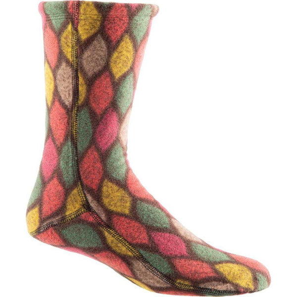 Acorn VersaFit Fleece Slipper Socks for Men and Women - Brown/Pink Leaves / M Men's 8.5-9.5/Women's 10-11