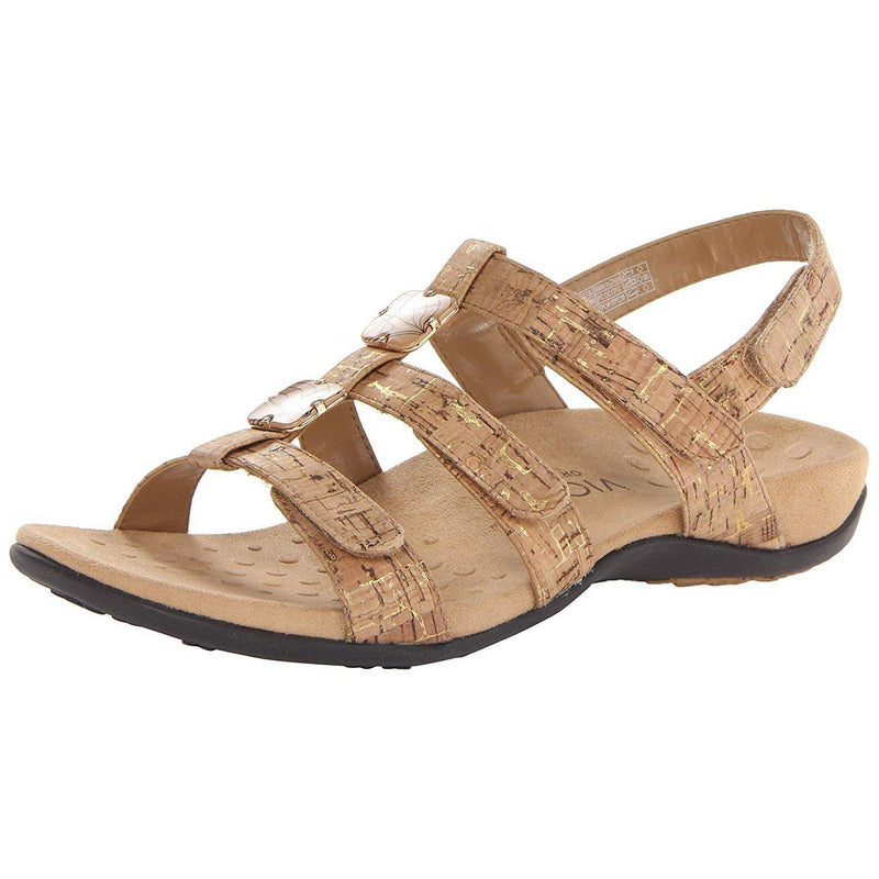 Vionic Women's Women's Rest Amber Backstrap Sandal - Ladies Adjustable Walking Sandals with Concealed Orthotic Arch Support - Gold Cork / 6