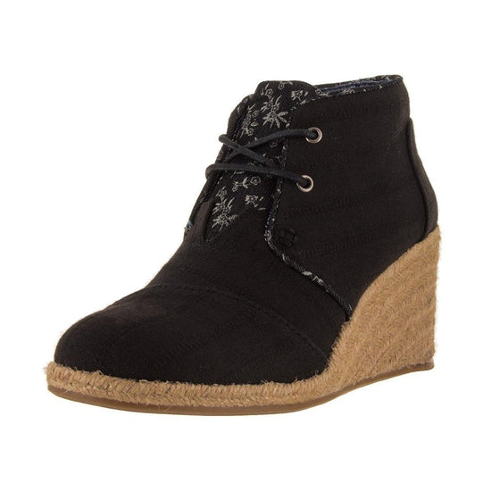 Toms Women's Desert Wedge Casual Shoe - Black Textured Linen / 8.5