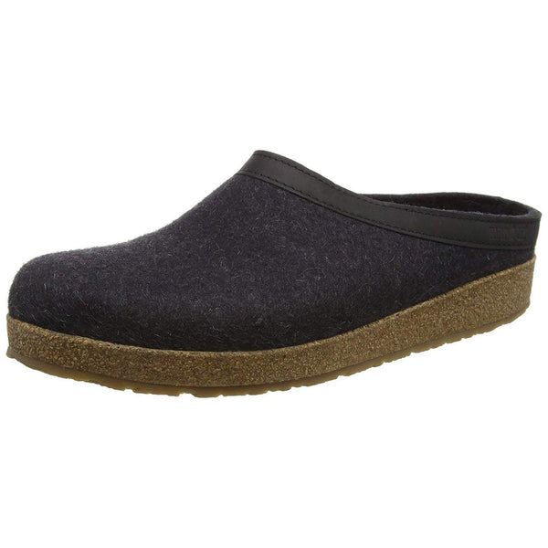 Haflinger Unisex GZL Leather Trim Grizzly Clog - Charcoal / 11 Women / 9 Men
