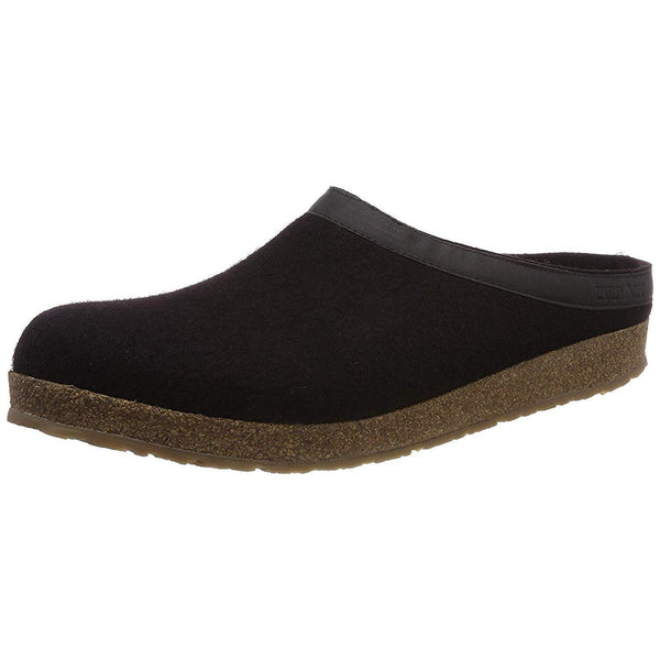 Haflinger Unisex GZL Leather Trim Grizzly Clog - Black / 8