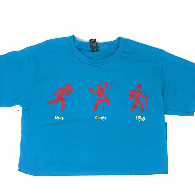 Grivet Outdoors Kids T-Shirts - Blue - Run. Climb. Hike. / Small