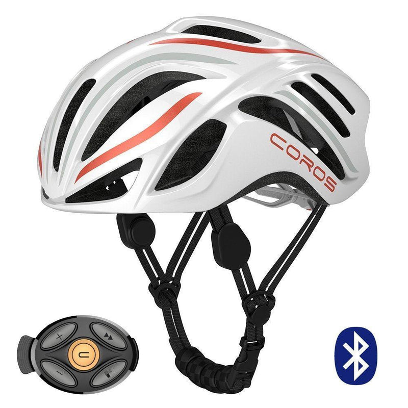 Coros Linx Smart Cycling Helmet - White/Orange/Grey Gloss / Large