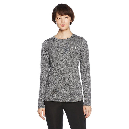 Under Armour Womens Tech Long Sleeve Crew Twist - Black/Metallic Silver / Large